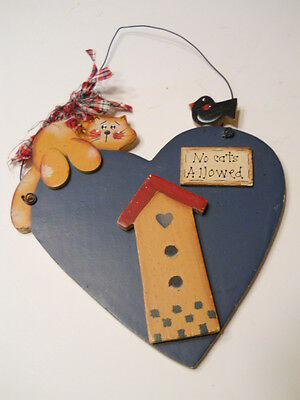 Cat Birdhouse Plaque Country Wall Hanging
