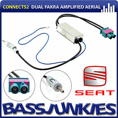 SEAT LEON 2005 Onwards Twin Car Radio Double Fakra to Din Aerial Antenna Adaptor