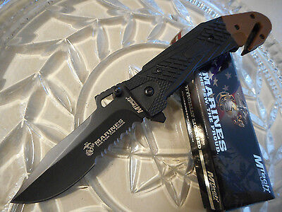 "Mtech USMC Licensed Desert Sidewinder Tactical Rescue Pocket Knife 440C 8 1/2"" O"