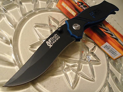 "Mtech Xtreme 440C SS G10 Serpent Drop Point Pocket Knife Black Blue 8 3/4"" Open"