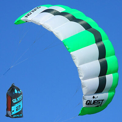 Green Dual Line Training Traction Kite 2sqm Parafoil Sport Surfing Kite Beginner