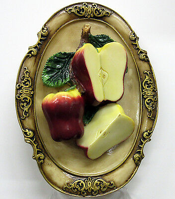 New Red Apple 3D Oval Wall Plaque 3 Apples