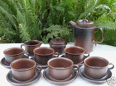 Bulk Lot ARABIA Finland RUSKA 17Pc COFFEE POTTERY SET Vintage VG - in Australia