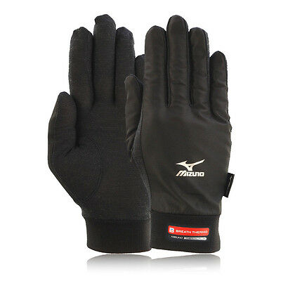 Mizuno Mens Womens Black Water Resistant Wind Guard Windproof Running Gloves