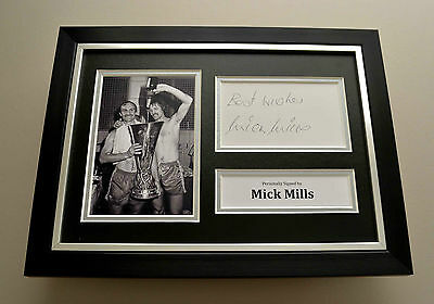 Mick Mills Signed A4 Photo Framed Display Genuine Ipswich Town Autograph + COA