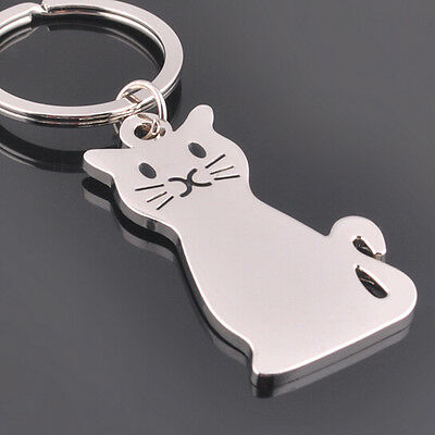 FD1162 Cute Smooth Cat Kitty Metal Keychain Keyring Keyfob Key Ring Car Keyring