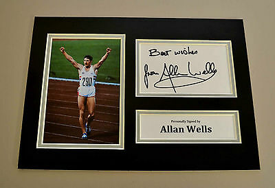 Allan Wells Signed A4 Photo Display 1980 Olympic Games Autograph Memorabilia