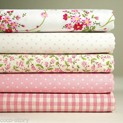 5 Fat Quarters Bundle 100% Cotton Fabric Pink Floral Check Sewing K c-219