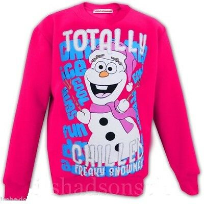 Girls Kids Frozen Olaf Jumper Pink Totally Chilled Snowman Age 2 3 4 5 6 8 9 10