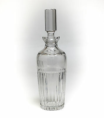 English Hand Cut & Polished Crystal Decanter w/ Large Geometric Stopper; c.1920