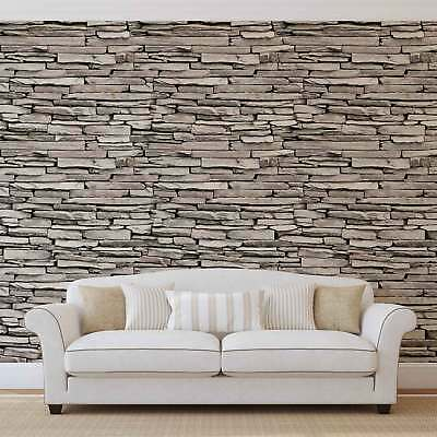 WALL MURAL PHOTO WALLPAPER PICTURE (1539P) Stone Brick Wall Wood