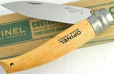 Opinel Garden no 8 Beech Wood Handle w/ Safety Ring Lock Knife France