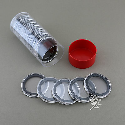 1 Capsule Tube & 20 38mm Black Ring Air-Tite Coin Holders for Silver Dollars