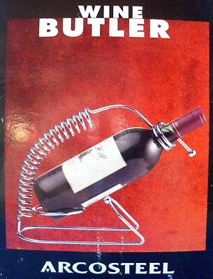 ARCOSTEEL Stainless Steel WINE BUTLER Wine Rack/Pourer Boxed Retro - in Aust
