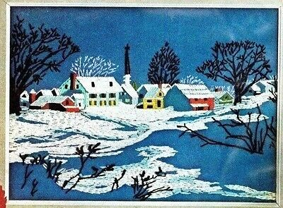 Vintage COUNTRY SNOWSCAPE PICTURE Crewel Wool Embroidery Kit Winter Avon 1973