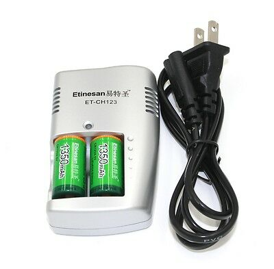 2pcs Etinesan 1350mAh 3v CR123A rechargeable lithium battery with charger set