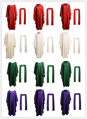1pc New Catholic Church Clergy Priests Solid Chasuble Vestment 3 styles 4 Colors