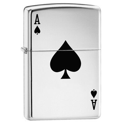 Zippo Highly Polished Chrome Classic Lucky Ace Card Lighter Windproof Refillable