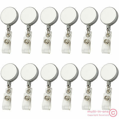 wholesale:Lot 12pc silver retractable ID card badge reel holder/belt roller clip