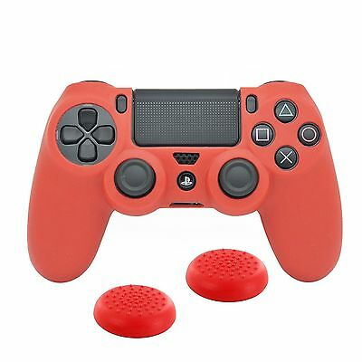PS4 Controller Tasche Skin 1x Case 2x Silikon Thumbstick Kappe Caps Rot