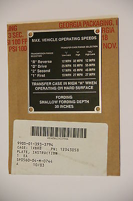 US Army HMMWV REO Data Plate Instruction Plate Vehicle Operating Speeds HUMVEE