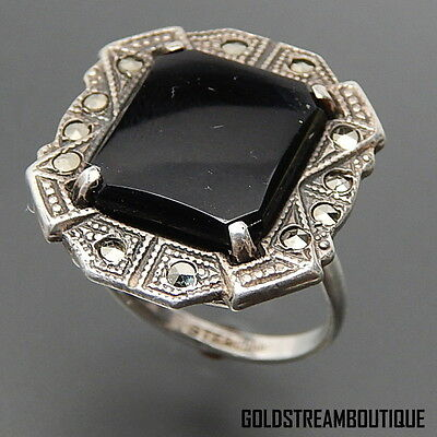 VINTAGE STERLING SILVER BLACK ONYX MARCASITE ACCENTS ART DECO RING SIZE 6