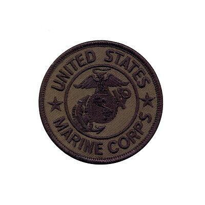 US Marine Marines Corps USMC Military Subdued Olive Drab Round Embroidered Patch