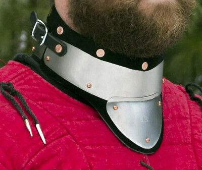 Stainless Steel&Leather Gorget delivers GREAT Protection SCA/WMA medieval combat