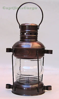 "Nautical Iron Metal Anchor Oil Lantern Lamp 11"" Fresnel Lens Maritime Decor"