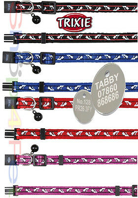 TRIXIE Snap Away Nylon Cat Collar With or Without a ENGRAVED PET ID TAG / Tags