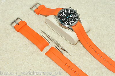 Polyurethane Divers Curved Ends Orange Watch Strap 20-22mm Bars & Remover Tool