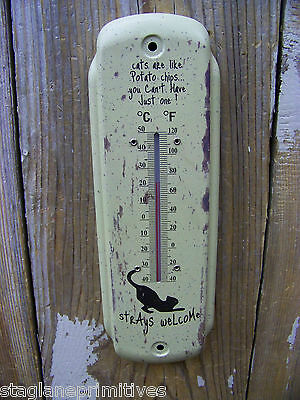 """Metal Cat Lovers """"Strays Welcome"""" Small 7"""" Thermometer Indoor /Outdoor Deck"""