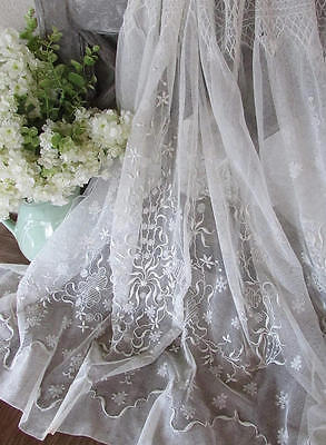 Antique Fine French Net Cordonet Embroidered Lace Skirting Bridal