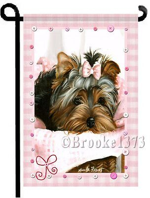 YORKIE painting pink Gingham GARDEN FLAG Yorkshire Terrier puppy small Dog ART