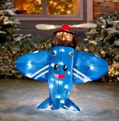 "Rudolph Misfit Toy Airplane 24"" 3D Tinsel Outdoor Christmas Decoration Yard Art"