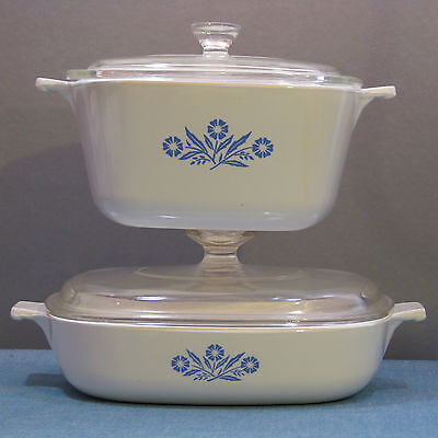 """2 Dishes 1.75 Qt & Lid/ 8"""" Skillet & Lid In Cornflower Blue By Corning 1957-1988"""