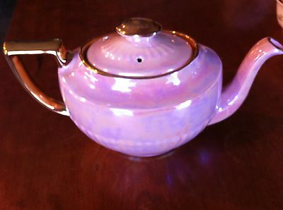 Queen Anne Pink Teapot Deco Lustre Gold Handles Made in  England
