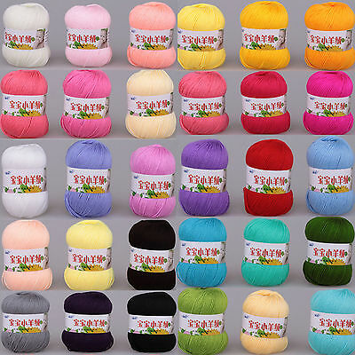 New Great Wholesale Soft Natural Bamboo Cotton Knitting Yarn Fingering 20 Colors