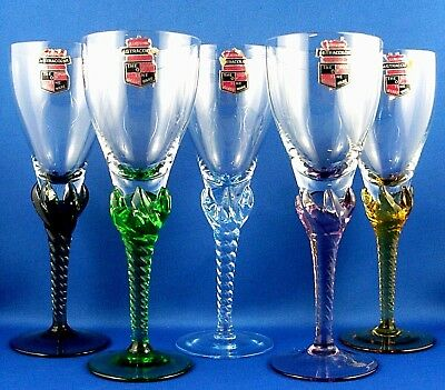 Vintage ASTRACOLOR HAND-CRAFTED Art Glass HARLEQUIN GLASSES Collectable in Aust