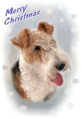 Fox Terrier Dog A6 Christmas Card Design XFOXWIRE-9 by paws2print