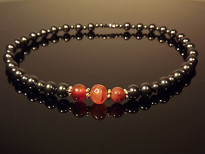 Antiquities Reborn Roman Gold, Carnelian with Swarovski Black Pearls