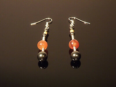 Antiquities Reborn Roman Gold, Carnelian with Swarovski Black Pearl Earrings