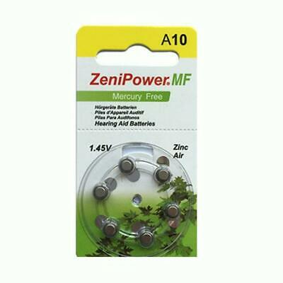 ZENIPOWER (60 QTY) Size A10/D6 Power 1.45v Mercury Free Hearing Aid Batteries