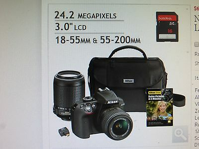 Nikon D Series D3300 24.2MP Digital SLR Camera W/2 Lens 18-55mm & 55-200mm, Case
