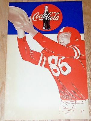 Two Vintage 1950s COCA COLA - Football  Cardboard  Advertising Posters