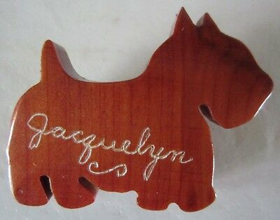 Vintage WOOD SCOTTISH TERRIER Dog Pin Brooch Jacquelyn - Pat Pend.