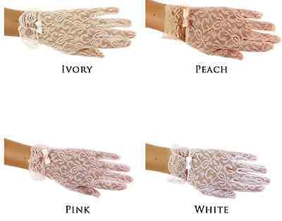 Girls Delicate Lace Gloves Wrist Length Special Occasion Dress Up White Ivory