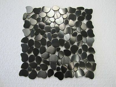 5 FULL SHEETS = 5 SQ/F STUNNING Stainless BLACK Steel Pebbles Mosaic Tiles