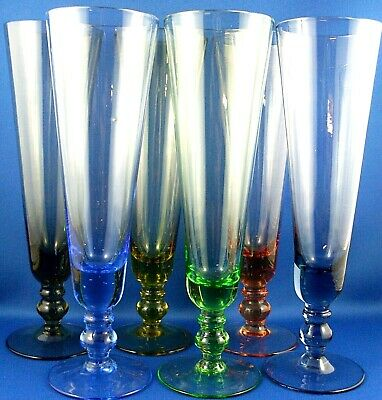 Vintage HARLEQUIN (6 Pc) HAND-CRAFTED Colour Art Glass FLUTE GLASSES VG- in Aust