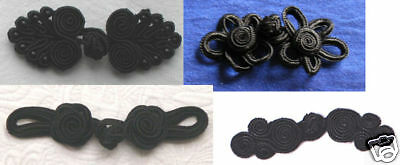 Sewing Chinese Frogs closure buttons mixed BLACK LOT hand made